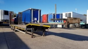 2013 Nooteboom, October 2019 MOT, SAF drum brake axles, 245/70r17.5 wheels and tyres, 18000kg neck, rear lifting axle, 20 lashing rings, 16 outriggers, single piece hydro electric ramps with side shift facility, superwinch front winch.