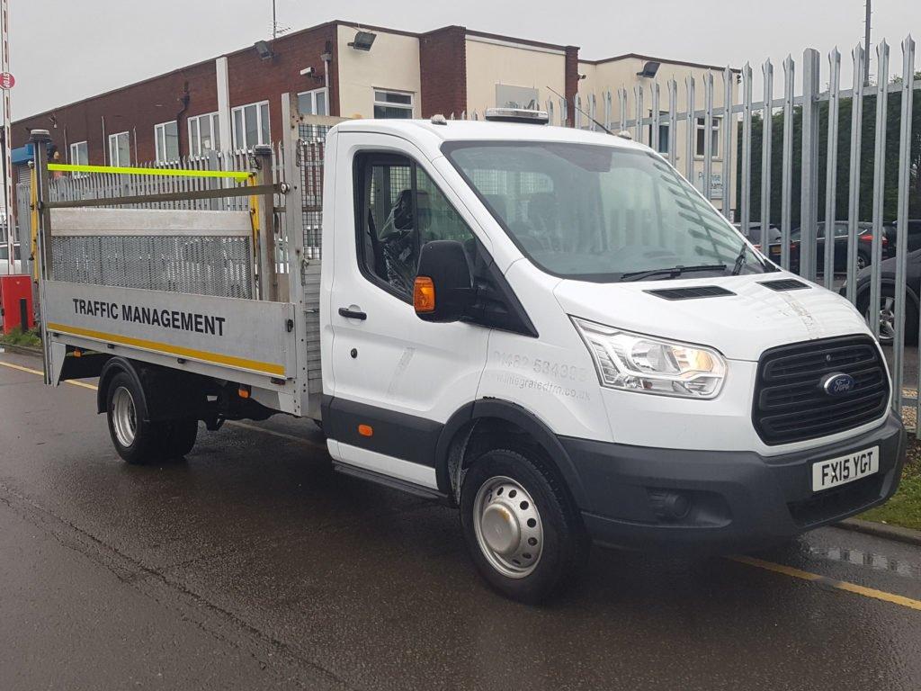 2015 Ford Transit 350 3.5t Dropside Tail Lift. 2.2l engine, 3 seater cab, 105,000miles, aluminium dropside body with a 500kg Del column tail lift to rear with safety rails, MOT September 2019. For more information please contact Jim Farrell on 07890 533587.