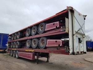 2005 2006 BPW drum brake trailers for export. 13.6m long flat beds, full steel construction trailers, stack of 5, welded, banded ready to be delivered to a UK Port. Worldwide shipping can be arranged.