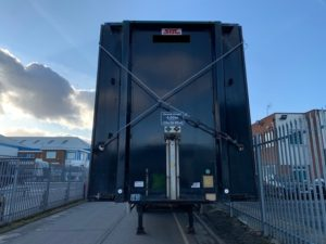Stack of 5 BPW Drum trailers for export.  Year 2005 to 2007, BPW drum brake axles, 13.6m length, all steel construction, welded, banded and delivered to the UK port.