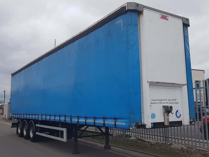 2016 SDC 4.51M ENXL Rated Sliding Roof Curtainsider. BPW drum brake axles, 2.88m side aperture, pillarless body, raise lower valve facility, kerruin floor. Choice of 2.