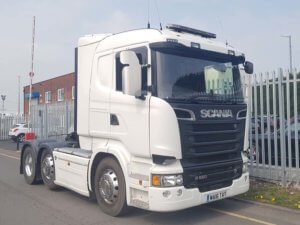 2016 (16) R580 V8 Scania with tipping equipment. Euro 6, 580 horse power, single sleeper R Cab, Opticruise gearbox, mid-lift, 291,430kms, alloys, Dual PTO tipping equipment, FORS camera system.