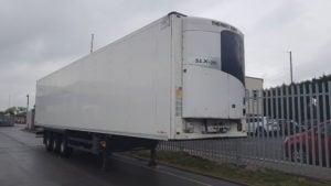 2013 Schmitz single temp fridge. SAF drum brake axles, MTK SLX-e200 fridge units, barley seed floors, 2.6m internal aperture, recessed loadlock, raise lower valve.