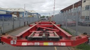 2007 Dennison 14 lock sliding skeletal. BPW drum brake axles, raise lower valve facility, pull out front and rear sections. Choice available.
