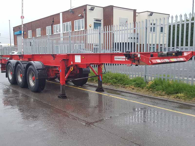 Choice of year 2010 & 2011 Dennison Sliding Skeletals. 14 locks, BPW drum brake axles, raise lower valves, pull out front and rear sections, well maintained, choice.