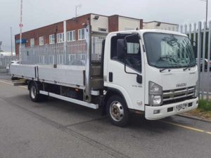 2011 ISUZU 7.5T Rigid Dropside Flat Bed. N75.190, Euro 4, 553,981kms, 4.5m wheelbase, 6m aluminium dropside body, 215/75r17.5 wheels and tyres, registered 20.1.2011, MOT December 2019.