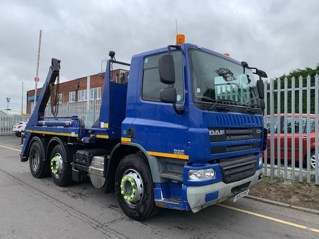 2013 (63) Daf CF 75 Skiploader. Euro 5, 310bhp, Day Cab, Automatic Gearbox, Full Camera System, AJK Extendable Equipment, Steering Wheel Controls.