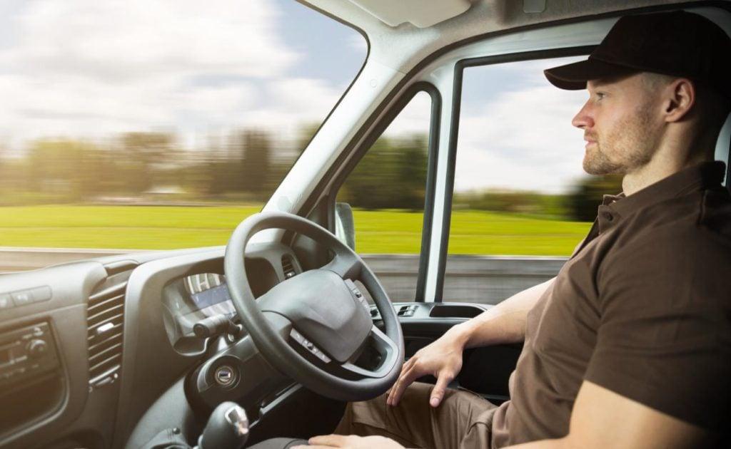 truck driver sitting in autonomous truck