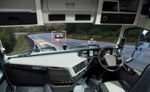rendering inside cockpit of autonomous self-driving truck