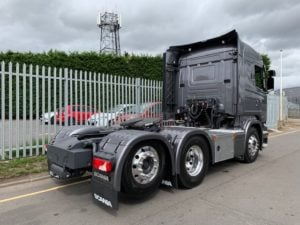 2017 Scania. Euro 6, 450bhp, Twin Sleeper Highline Cab, Opticruise Gearbox, FORS Camera System, Rear Lifting Axle, Fridge, 260,449km, Kelsa Bars fitted along with full cab an plastics paint.