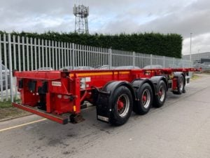 2012 Dennison Combi Splitting Skeletal. BPW Axles, Drum Brakes, 12 x Twist Locks (6 x Twist Locks per bogey), Raise Lower Valve Facility, Lift Axle.
