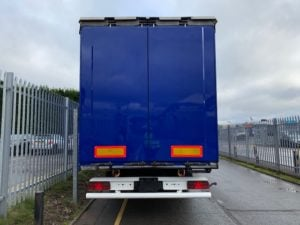 2012 Krone Coil Liner Curtainsider. 4m External Height, Lifting Roof Facility, BPW Axles, Drum Brakes, Wisa Deck Floor, Flush Doors, ENXL Rated Body, Body Painted in Ultramarine Blue, Supplied with New ENXL Rated curtains.