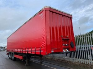 2014 Krone Coil Liner. 4m External Height, Lifting Roof Facility, BPW Axles, Drum Brakes, Wisa Deck Floor, Flush Doors, ENXL Rated Body, Refurbed in Red and Supplied with Brand New ENXL Rated Curtains.