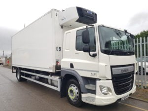 2017 DAF (66) CF260 18 Tonne Fridge Tail Lift. Dhollandia column tail lift 1500kgs, shutter door, 25' Montracon body, Carrier Supra 1150MT engine, near side door in body, 6.9m wheelbase, sleeper cab, Euro 6, auto, rear air suspension, internal bulkheads for split compartment and aluminium floor. 249,537kms.