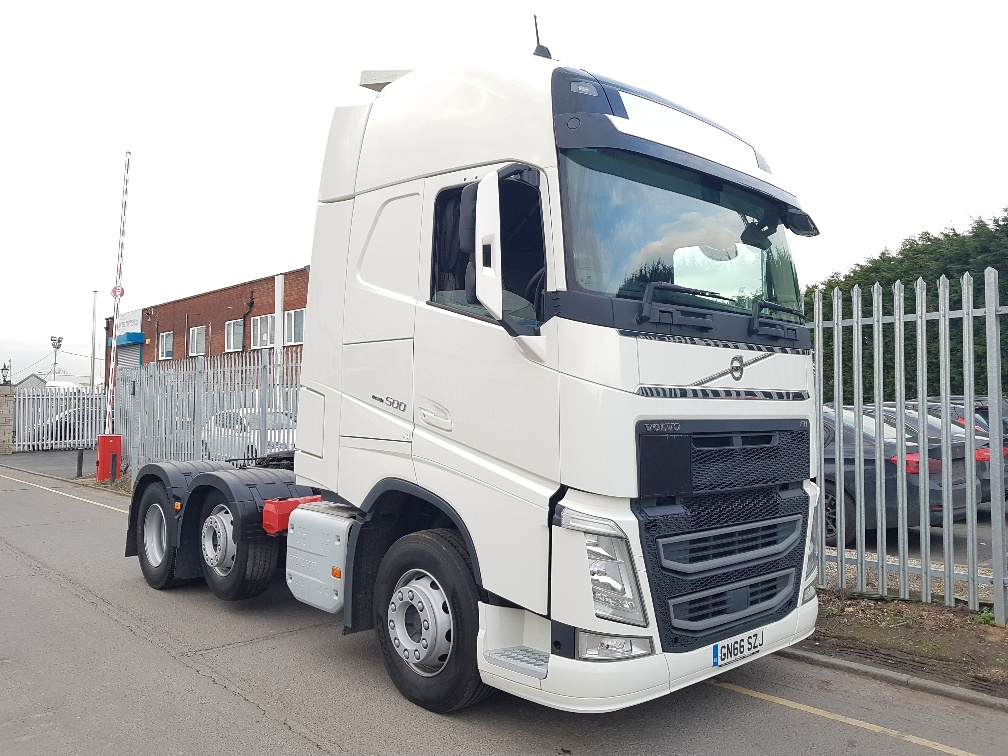 2016 Volvo FH500. Euro 6, 500bhp, GTXL Twin Sleeper Cab, Automatic Gearbox, 4.1m Wheelbase, Mid-Lift Axle, Steering Wheel Controls, Advanced Audio Package, Fridge/Freezer, Leather Trim including Steering Wheel, Fully Colour Coded, Full Volvo Service History.