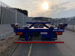 2018 Dennison Skeletal Trailer. SAF Axles, Drum Brakes, 14 x Twist Locks, Raise Lower Valve Facility, Pull Out Rear Bumper, Pull Out Couplings, Choice Available.