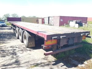 2003 SDC Flat Trailer. ROR Axles, Disc Brakes, Keruing Floor, Raise Lower Valve Facility, Storage Tray, Priced at £2,750 +VAT.