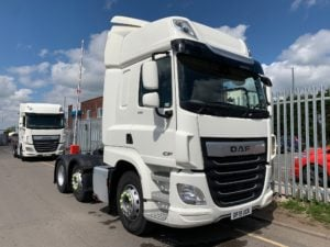 2019 DAF CF. 530bhp, Euro 6, Space Twin Sleeper Cab, 3.95m Wheelbase, Aluminium Catwalk Infill Panels, Fridge, Steering Wheel Controls, Mid-Lift Axle, Air Con, Xtra Comfort Mattress, Radio/USB, Electrically Heated & Adjustable Mirrors, Choice & Warranty Available.