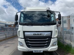 2018 DAF CF Curtainsider. 18 Tonne, 260bhp, Euro 6, Automatic Gearbox, 6.9m Wheelbase, Space Single Sleeper Cab, Anteo Tuckunder Tailift (1500kg Capacity), Barn Doors, Internal Straps, Cruise Control, Air Con, Low Mileage, Choice & Warranty Available.