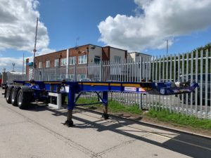 2017 Dennison Skeletal Trailer. SAF Axles, Drum Brakes, 14 x Twist Locks, Raise Lower Valve Facility, Choice Available.