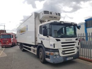 2008 (58) Scania 26T Fridge Tailift, 26 Tonne, Thermoking Engine, MBB Cantilever Tailift (1500kg Capacity), Day Cab, Euro 4, Automatic Gearbox, 340bhp, 730,047km, Priced at £10,500 +VAT.