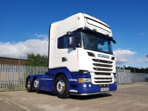 2013 (63) Scania V8, Euro 5, 500bhp, Twin Steer, Topline Double Sleeper Cab, Opticruise Gearbox, Mid-Lift Axle, Retarder, Twin Fuel Tanks, Air Con, Leather Interior, Fridge, Sat-Nav, Microwave.