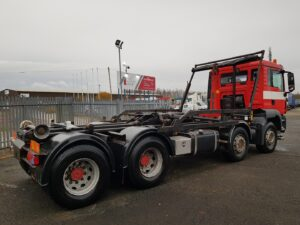 2010 MAN TGS Hookloader, 32 Tonne, Euro 5, 360bhp, Manual Gearbox, Day Cab, Hyva Lift Hook Equipment & Fly Over Sheet, 32-56-SE Sheet System, 348,967km, Warranty Available.