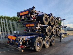 2011 SDC Skeletal, BPW Axles, Drum Brakes, 14 x Twist Locks, Raise Lower Valve Facility, Choice Available.