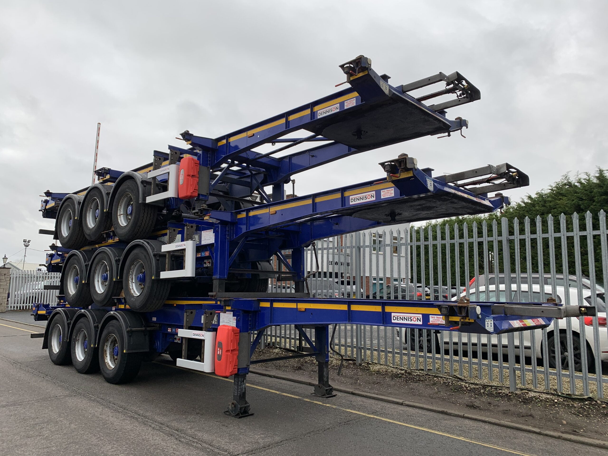 2016/2017 Dennison Sliding Skeletal Trailers. Mixture of SAF & BPW Axles, Drum Brakes, 14 x Twist Locks, Raise Lower Valve Facility, Varied MOT Dates, Choice Available.