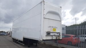 "2013 Don Bur Double Deck Boxvan, 4.86m External Height with Square Front, 13.6m Overall Length, Hydraulic Lifting Decks, BPW Axles, Drum Brakes, 215/75r17.5 Wheels & Tyres, Raise Lower Valve Facility. It has Front & Rear Lifting Decks, The Rear Deck still sits around 10"" off the Bottom Deck. Front Deck has 1.94m on Top Deck & 1.41m underneath. The Rear Deck has 3.87m of clear aperture to spread the deck between. Choice of 6 at Wolverhampton."