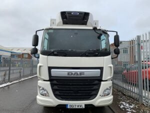 2017 DAF CF Fridge Tailift, 26 Tonne, 330bhp, Dhollandia Tuckunder Tailift (1500kg Capacity), Carrier Supra 1150 Fridge Engine, Euro 6, Automatic Gearbox, Single Sleeper Cab, Steering Wheel Controls, Roller Shutter Rear Door, Aluminium Floor, Load Lock Rail, Low Mileage, Choice & Warranty Available.