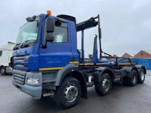 2013 DAF CF 85, Hookloader. AJK Hydrolift Gear, 8×4, 32 Tonne, Euro 5, 360bhp, Day Cab, Automatic Gearbox, Camera System, Steering Wheel Controls, Finance & Warranty Options Available.